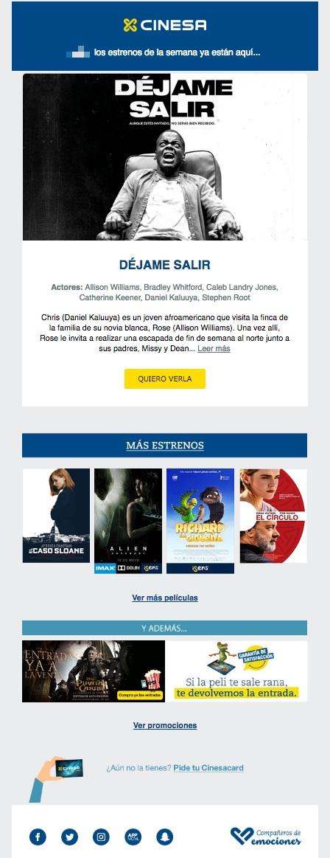 newsletters para incrementar las conversiones: Cinesa