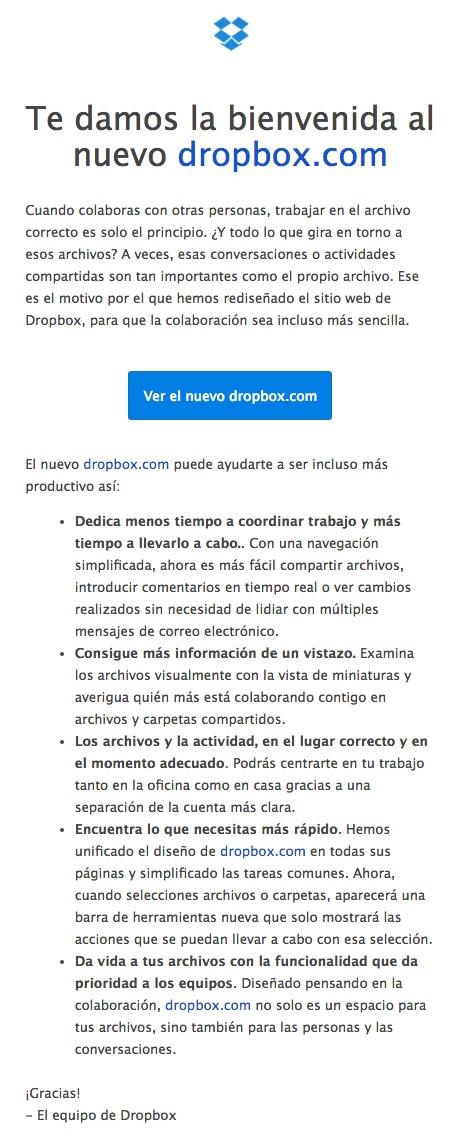 newsletters para incrementar las conversiones: DropBox