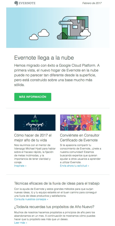newsletters para incrementar las conversiones: Evernote