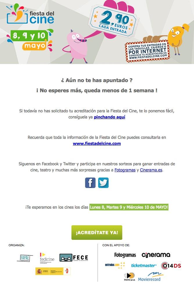 newsletters para incrementar las conversiones: Fiesta del cine