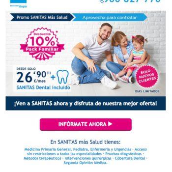 newsletters para incrementar las conversiones: Sanitas