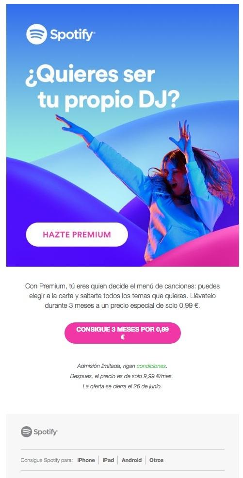 newsletters para incrementar las conversiones: Spotify