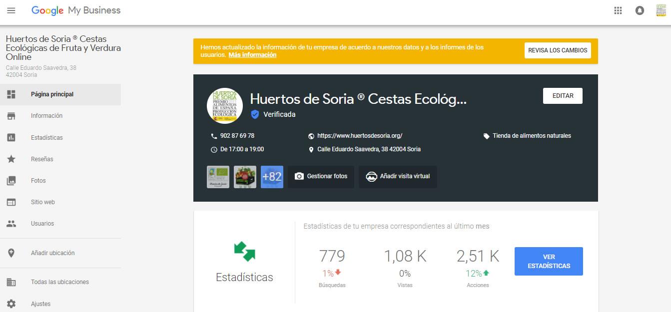 Google My Business de Huertos de Soria