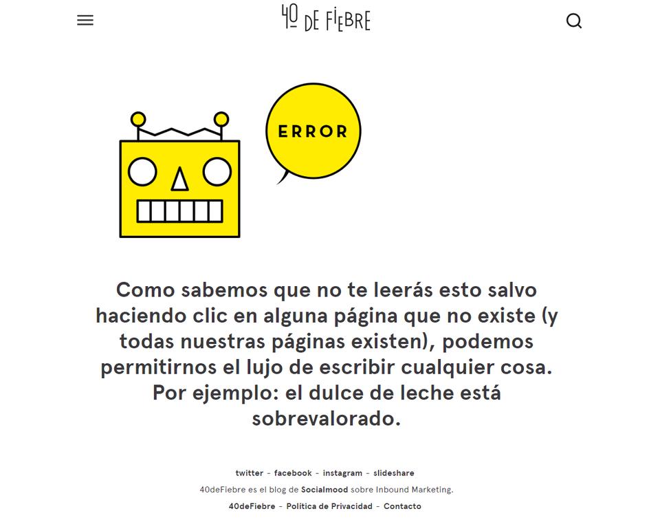 ejemplos de páginas 404: 40 de fiebre