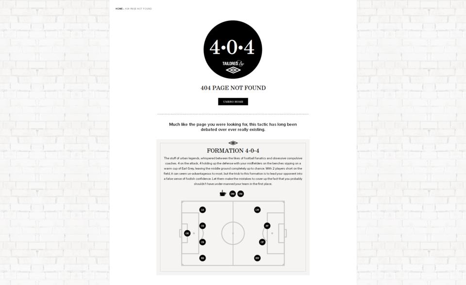ejemplos de páginas 404: Umbro