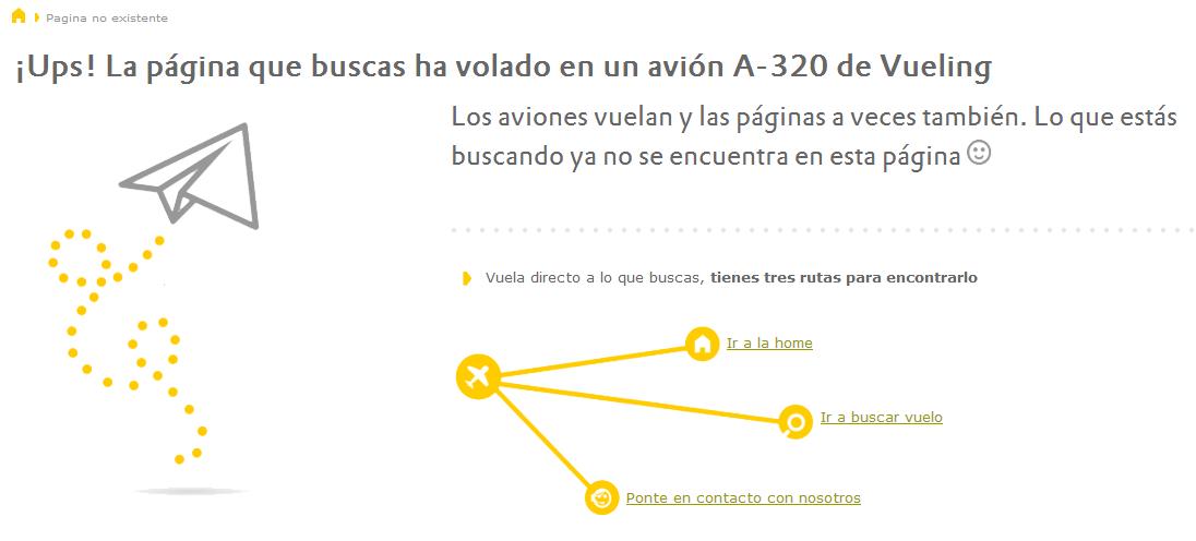 ejemplos de páginas 404: Vueling
