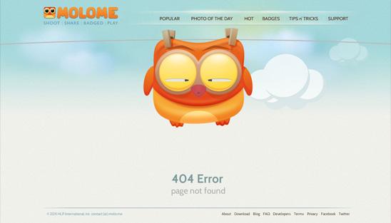 ejemplos de páginas 404: Molome