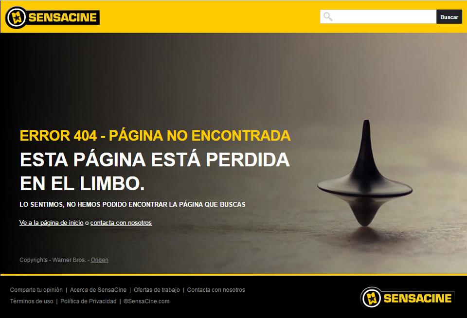 ejemplos de páginas 404: Sensacine