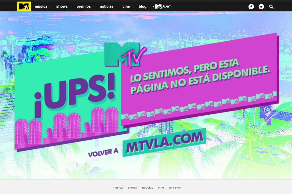 ejemplos de páginas 404: MTV