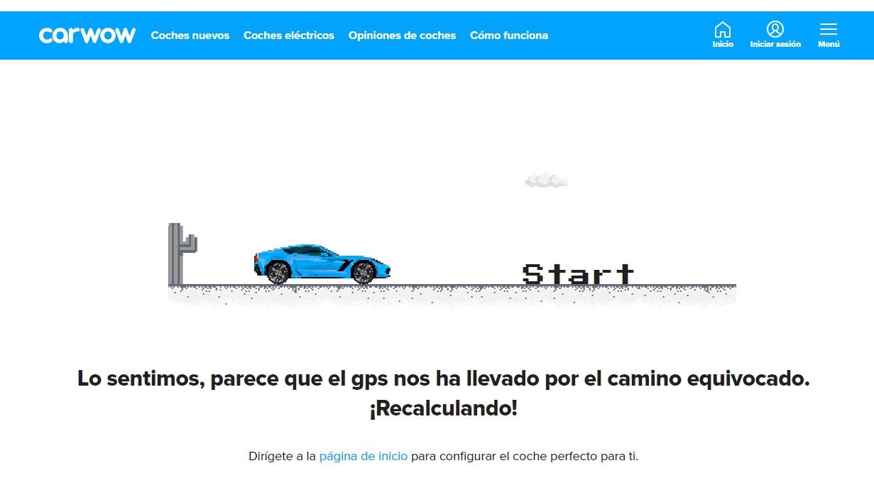 ejemplo página 404: Carwow