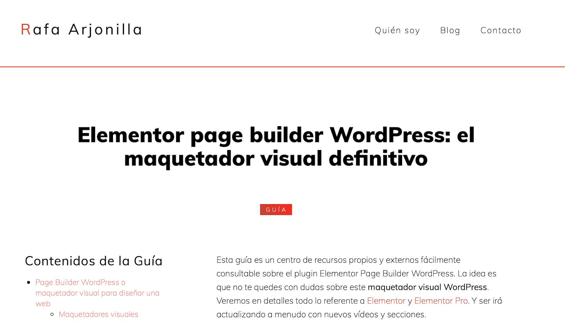 Elementor page builder WordPress: el maquetador visual definitivo(Raja Arjonilla)