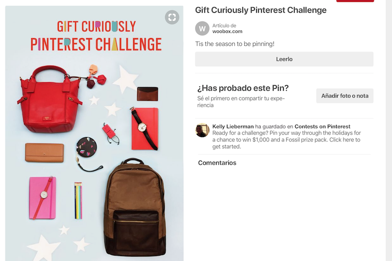 concurso en Pinterest