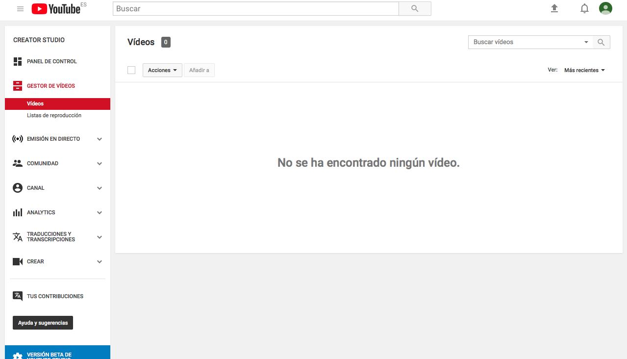 crear un canal de Youtube