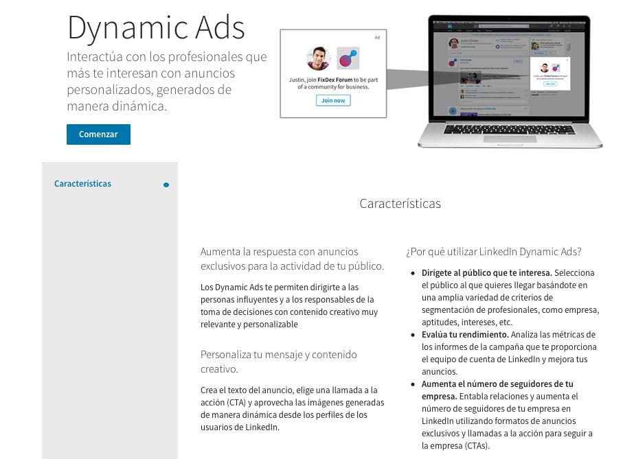 Publicidad en Linkedin; anuncios dinámicos