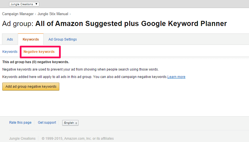 campaña de publicidad en Amazon Ads keywords negativas