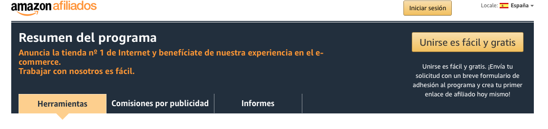 Amazon Afiliados. Registro