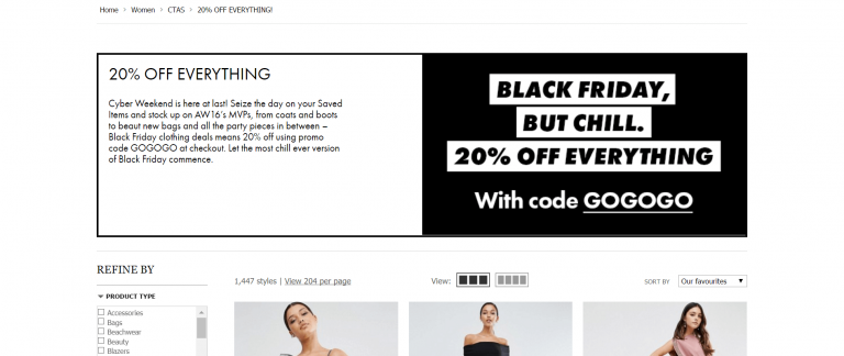 asos campañas del Black Friday