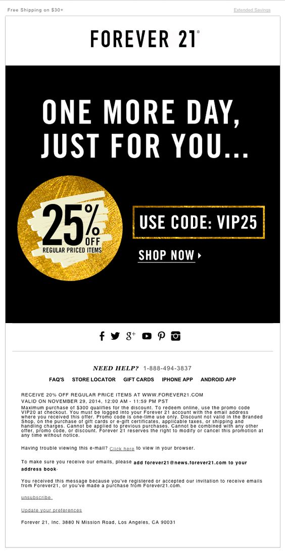 Forever 21 – 'Just For You'