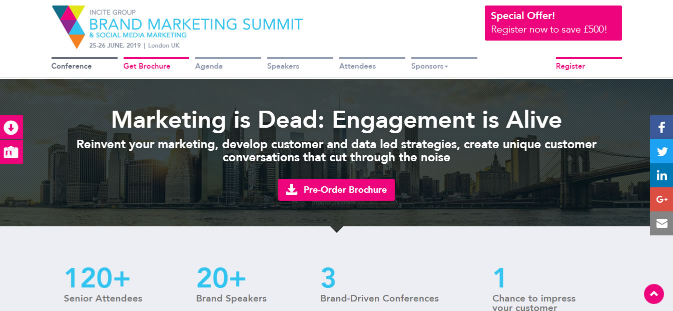 eventos de Marketing Digital en Europa de 2019 - The Brand Marketing Summit: Europe