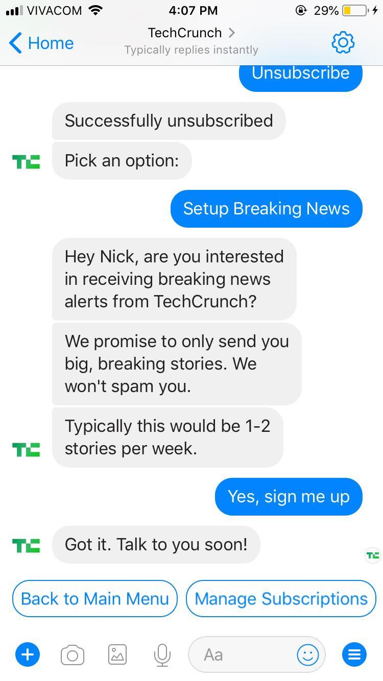 bajas chatbot en Facebook Messenger