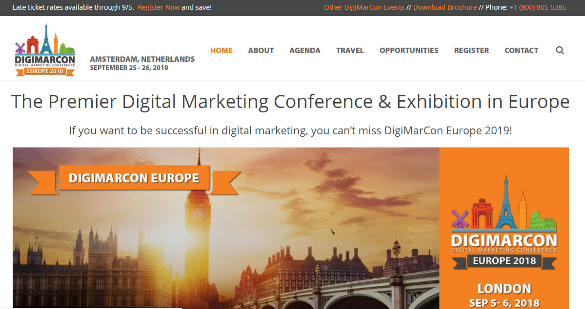 eventos de Marketing Digital en Europa de 2019 - DigiMarCon Europe 2019