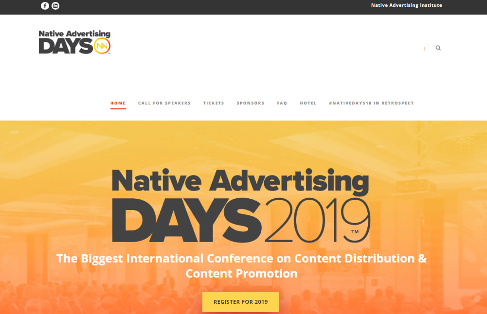 eventos de Marketing Digital en Europa de 2019 - Native Advertising Days