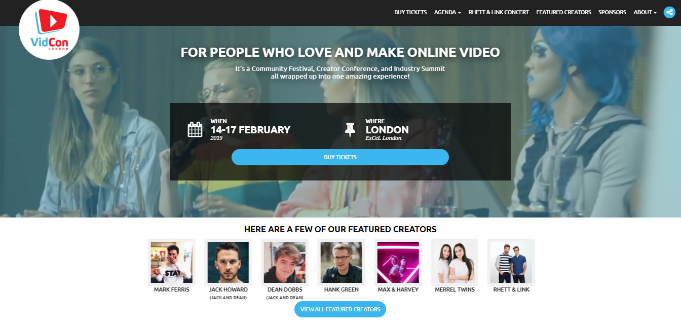 eventos de Marketing Digital en Europa de 2019 - VidCon London