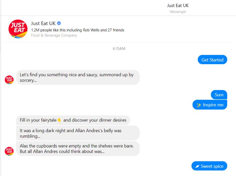 Captar clientes con Chatbot just eat