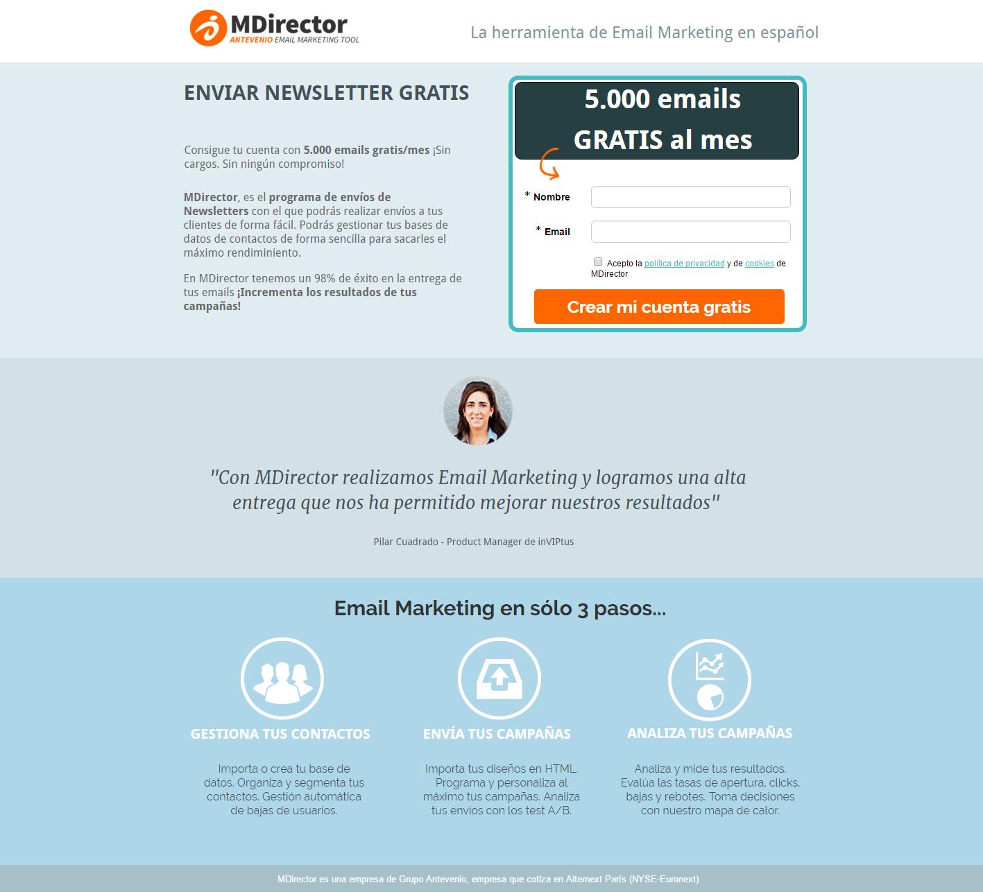 e-commerce B2B landing de producto