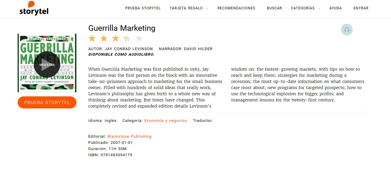 Los mejores audiolibros sobre marketing en español: Guerrilla Marketing