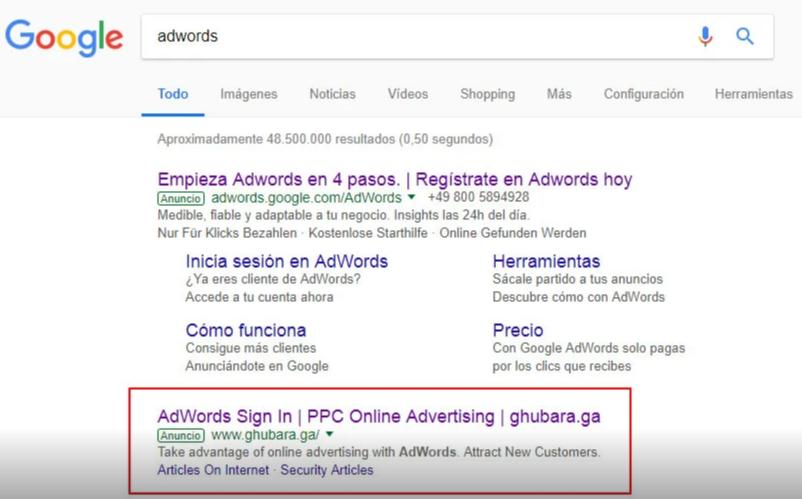 Phishing en Google Ads modalidades