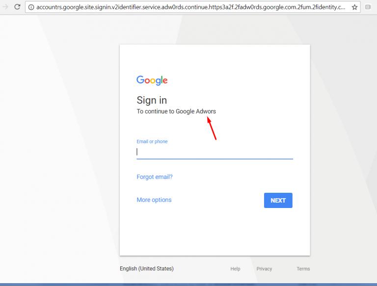 Phishing en Google Ads error