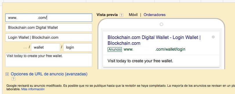 Phishing en Google Ads objetivo