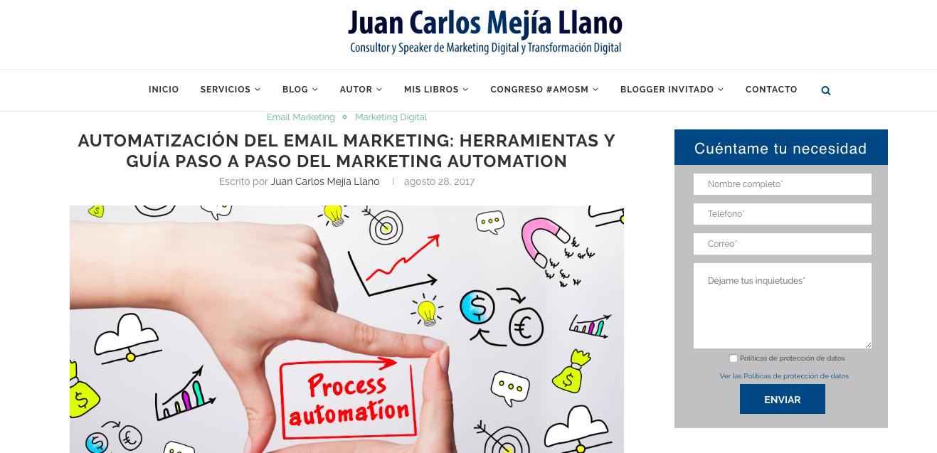 blogs de Email Marketing Automation en LATAM: Juan Carlos Mejía