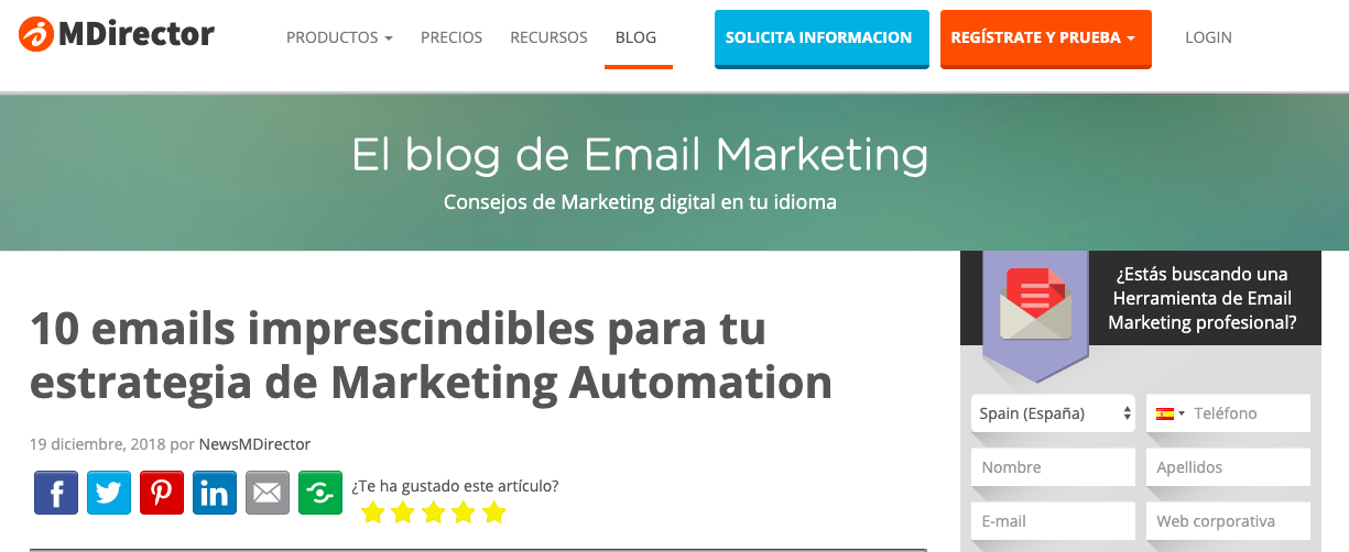 blogs de Email Marketing Automation en LATAM: MDirector