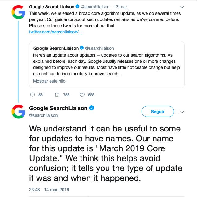nombre nueva actualización de Google