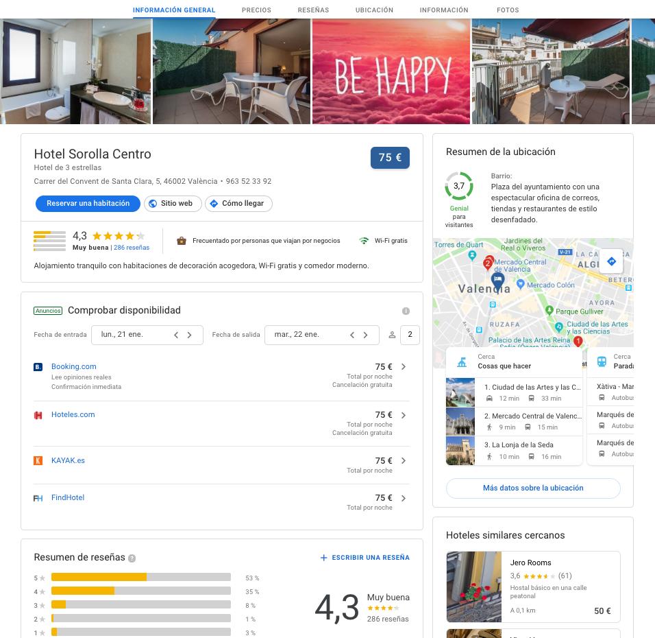 Google Hotel Ads precios