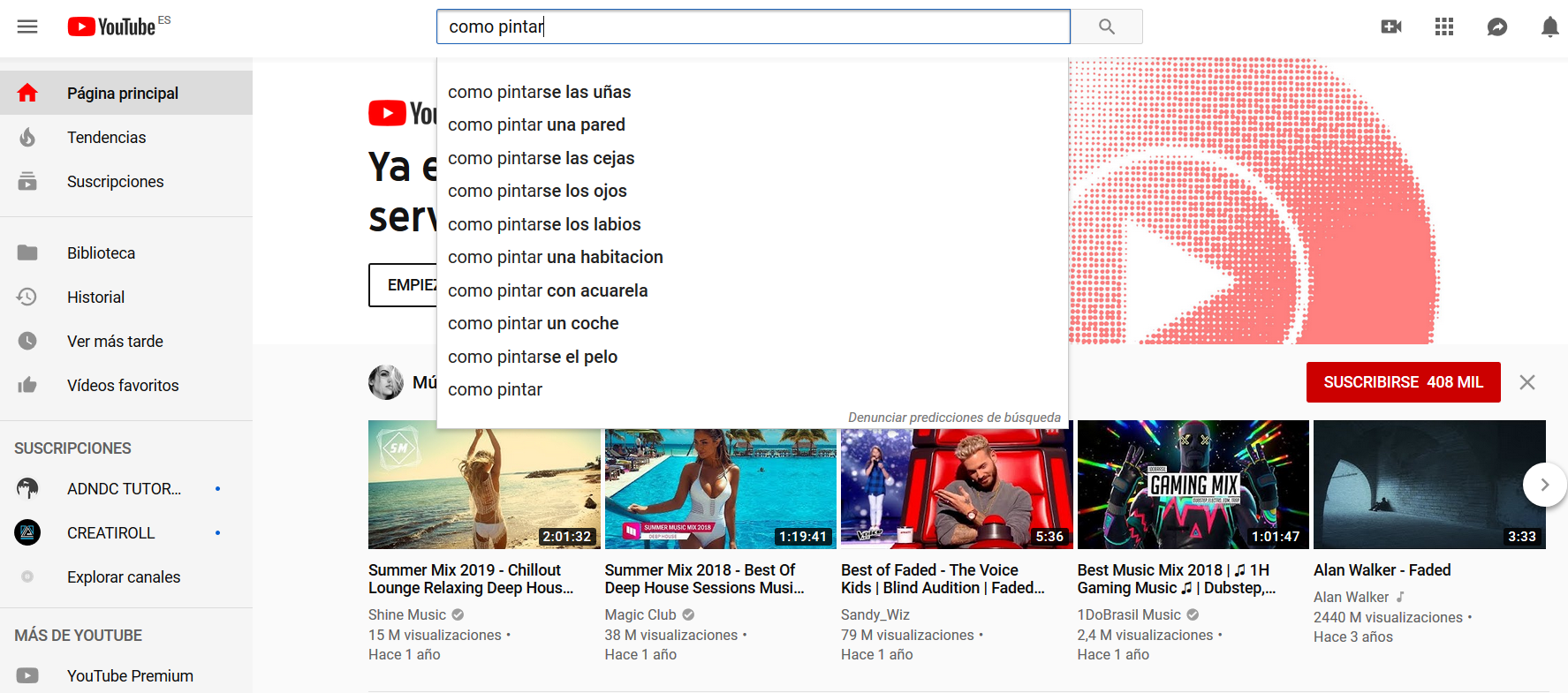 Sugerencias de Youtube