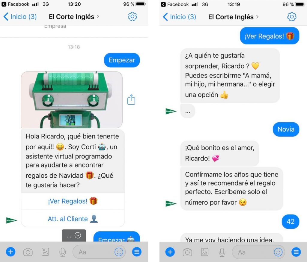 chatbots efectivos para captar clientes: El corte inglés