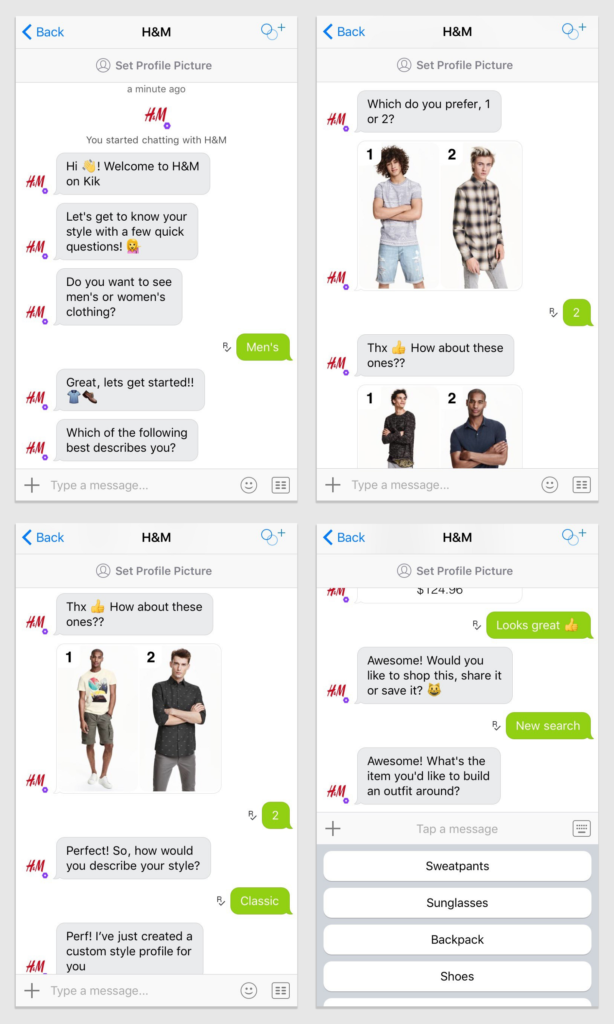 chatbots efectivos para captar clientes: H&M
