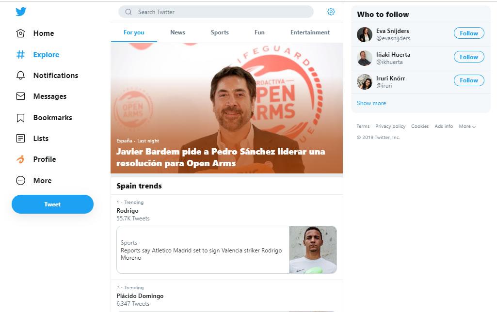 nuevo diseño de Twitter: sección Explore