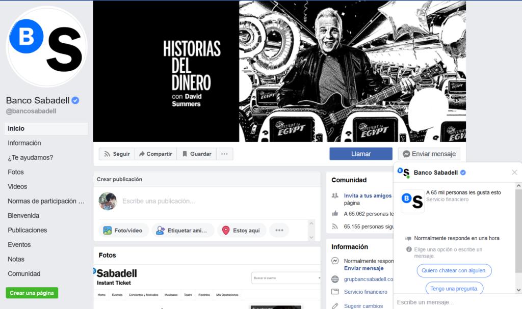 Messenger de Facebook Banco Sabadell