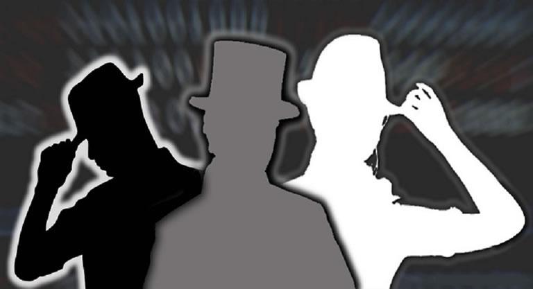 Seo de sombrero negro, blanco y gris