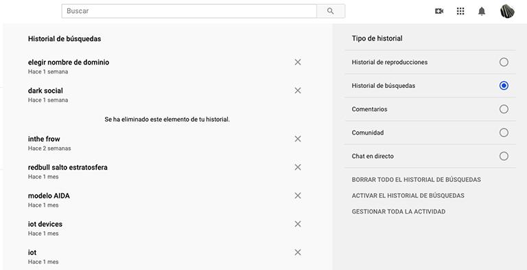 opciones de privacidad en Google