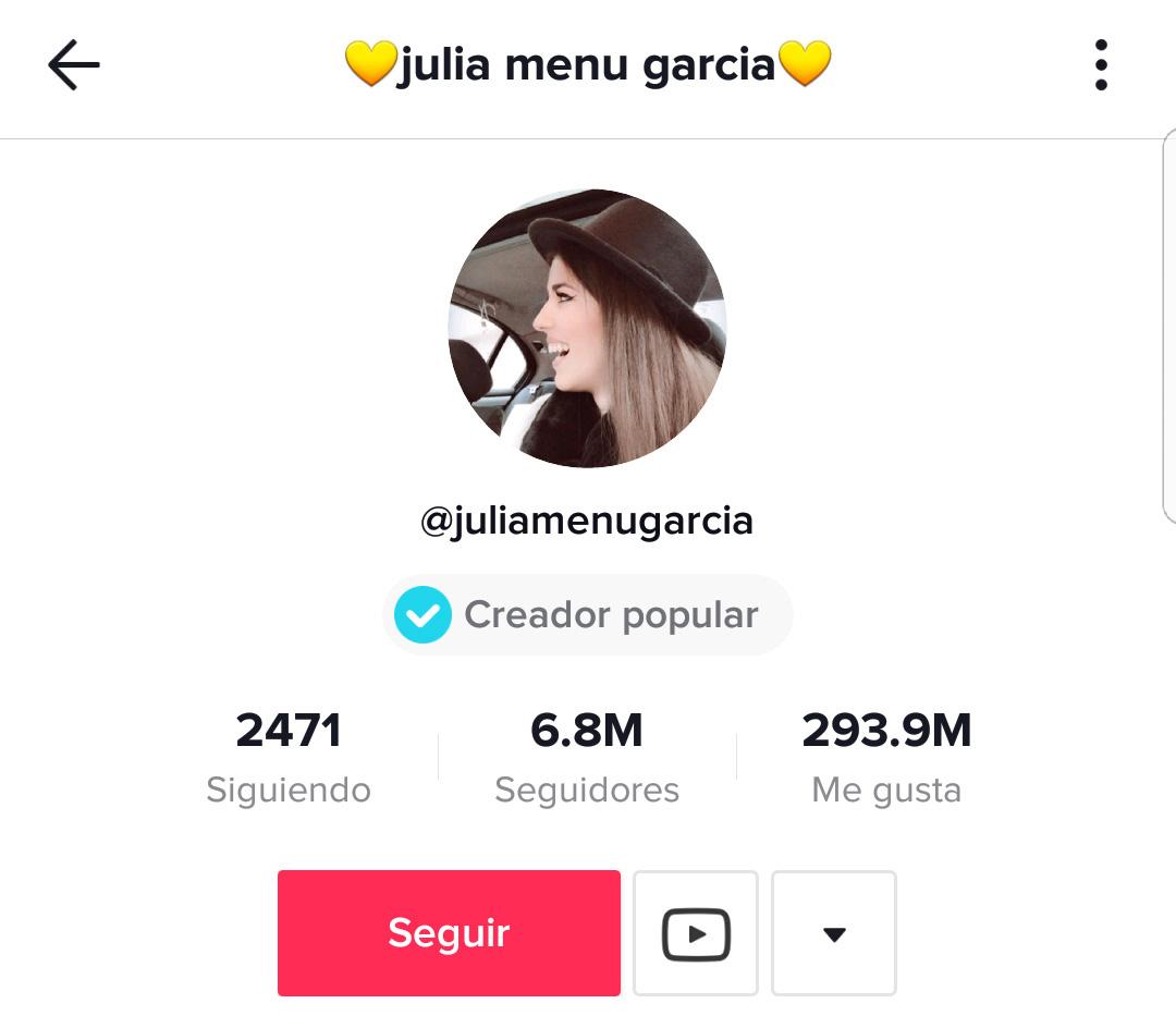 influencers de Tik Tok: Julia Menú García