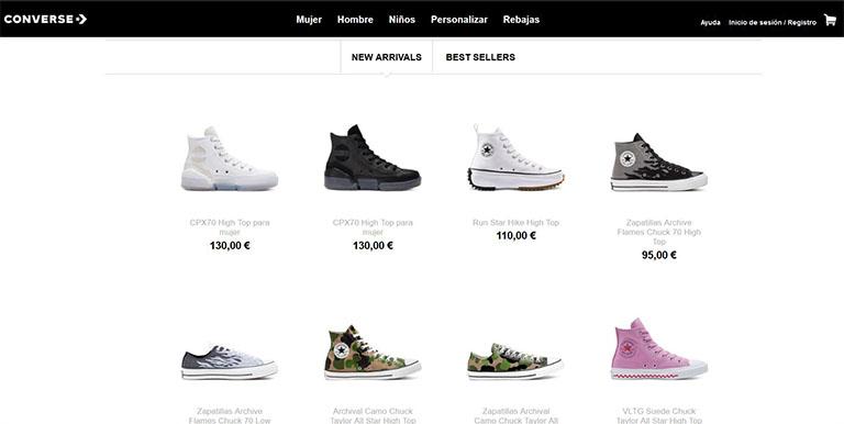 Imágenes de producto de la web Converse