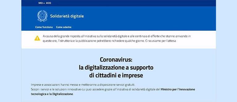Solidarieta digitale per coronavirus