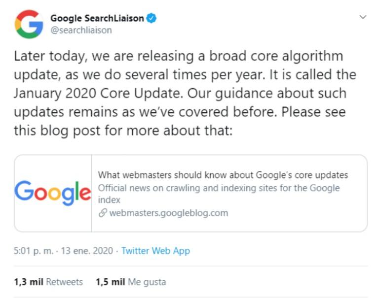Google Core Update tweet
