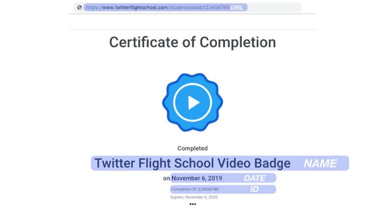 Insignias de Twitter Flight School