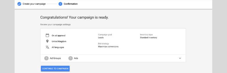 Confirma la creación de la campaña